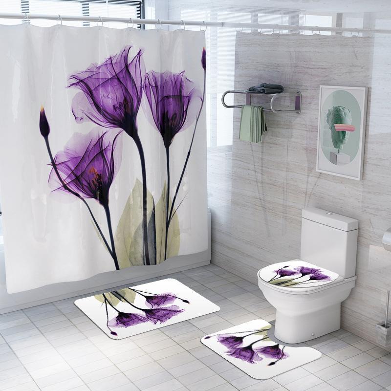Tapetes de flanela tapetes de chuveiro de banheiro e cortina impermeável Floral impresso banho conjunto antiderrapante tapete toalete tapete