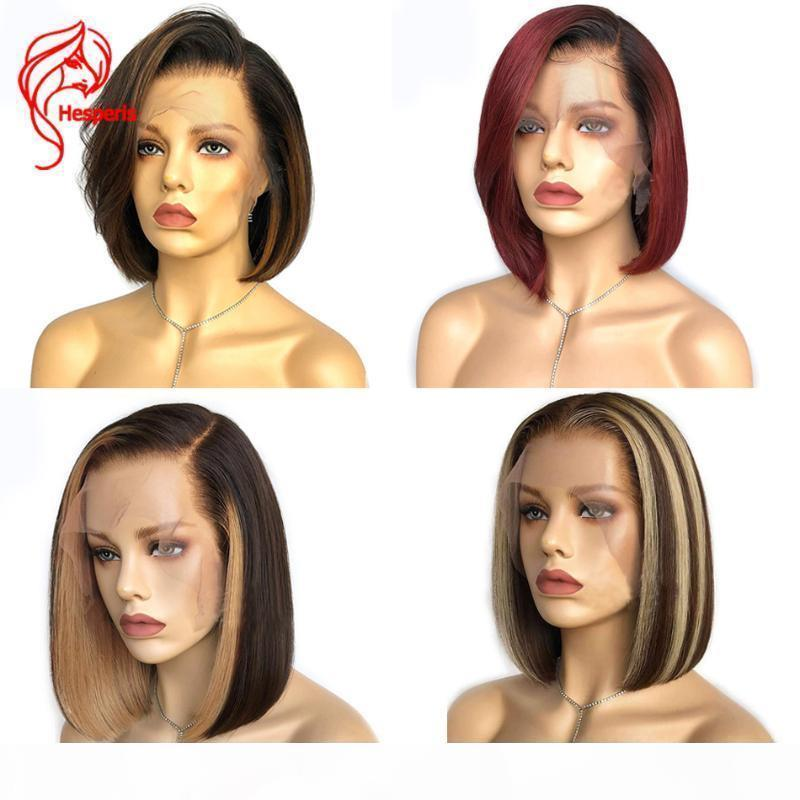 Hesperis 12 pollice corto Bob pizzo anteriore parrucche per capelli umani pre preliminare il brasiliano Remy Highlight Blonde 13x6 parrucche anteriori in pizzo ombre