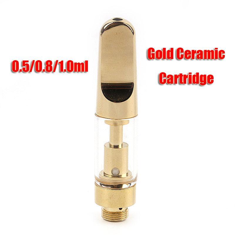 Полные золотые картриджи для картриджей 0,5 / 0,8 / 1.0 мл керамическая катушка толщиной масляный стеклянный бак пустыми испарителями тележки для 510 резьбовой батареи