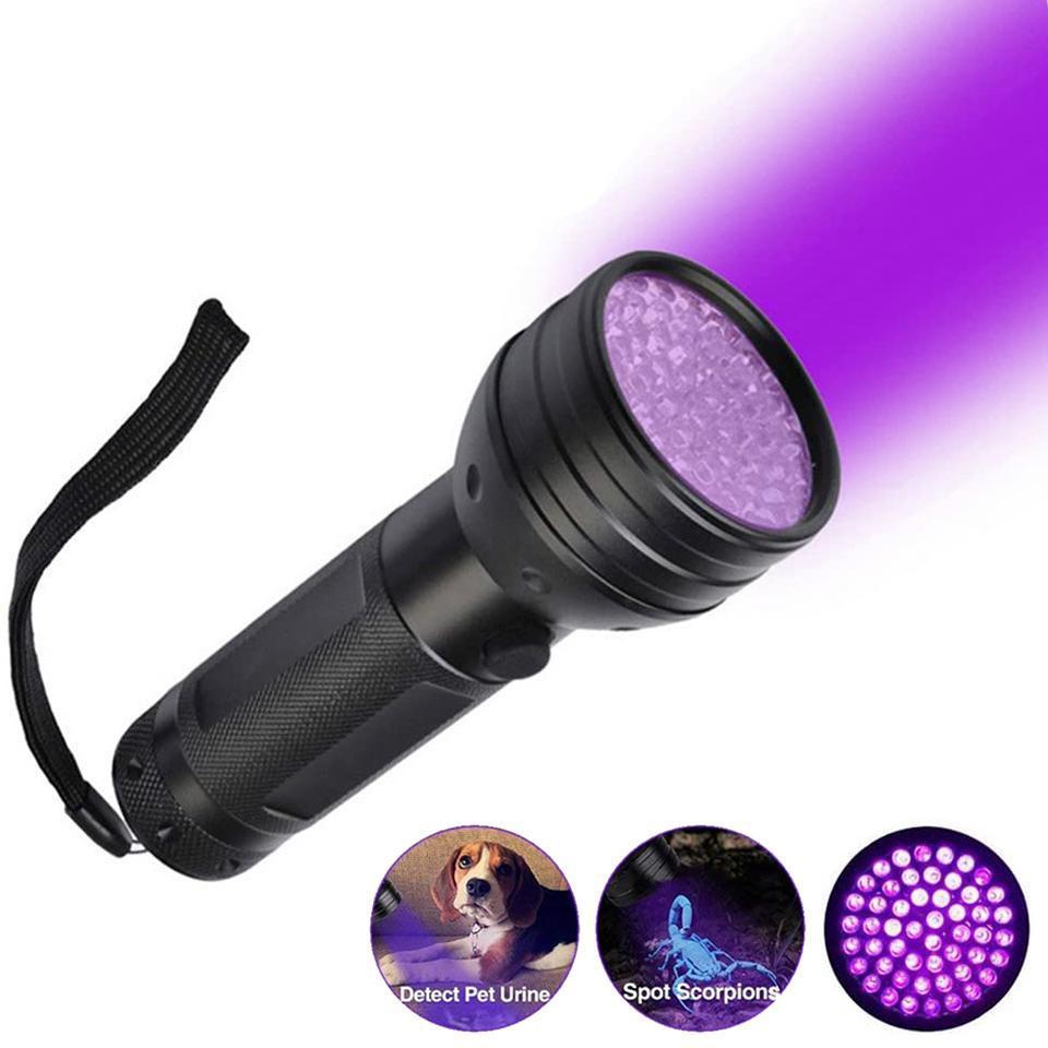 LED UV-Taschenlampe 51LEDS 395NM ultraviolette Mini-Fackel-Scorpion-Haustier-Urinflecken-Detektor 3 * AA-Batterieerkennung Taschenlampe