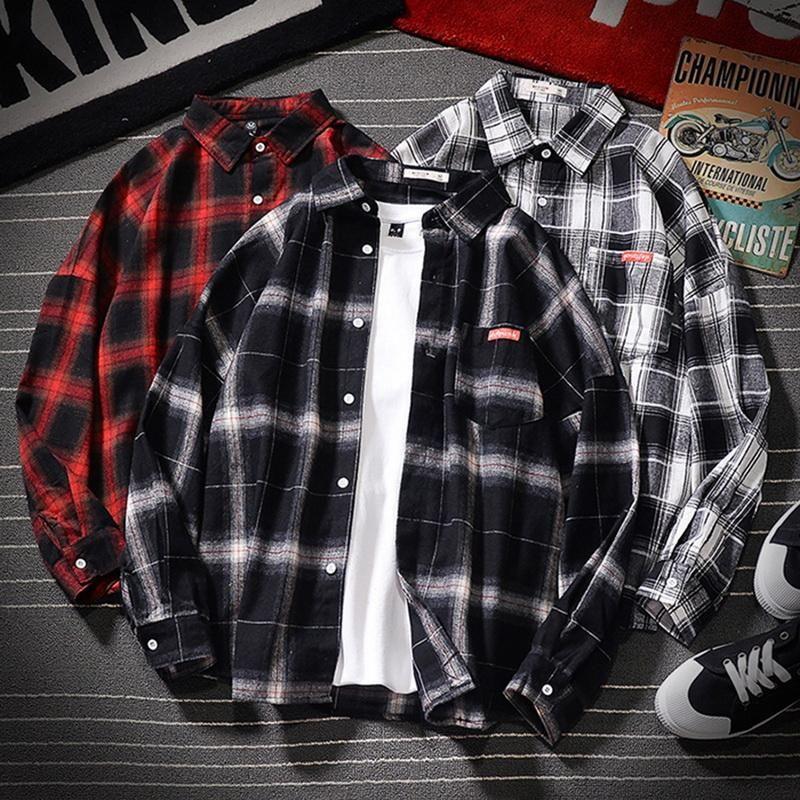 Mens Plaid Shirt Streetwear 두꺼운 셔츠 긴 소매 남성 봄 가을 캐주얼 소프트 컴포트 슬림 맞는 스타일 플러스 사이즈 남성