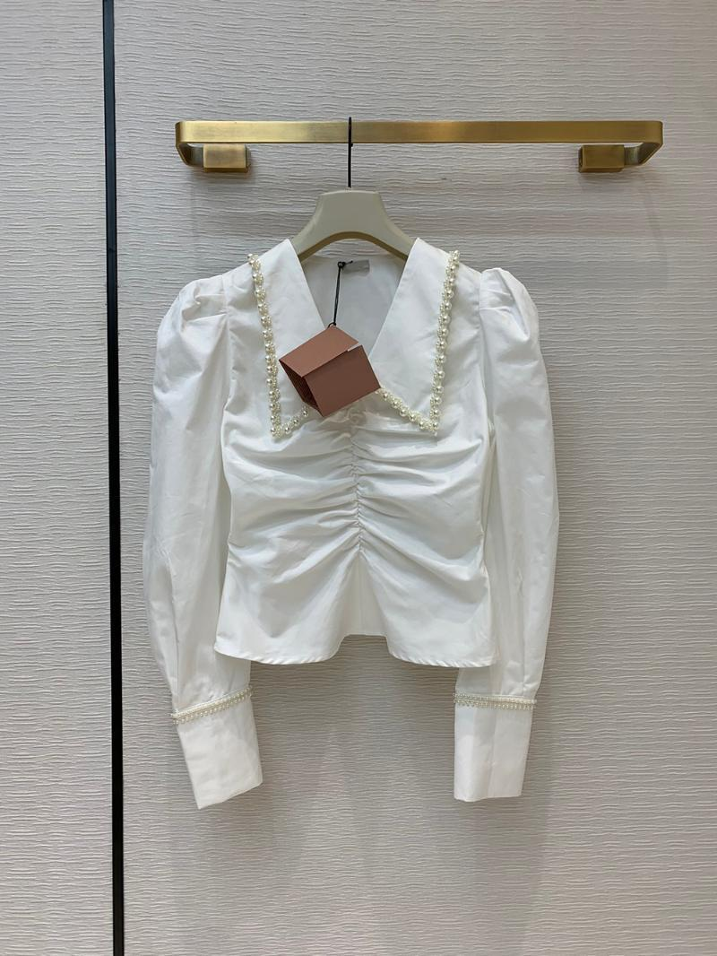 Kadın Bluzlar Gömlek 2021 Sonbahar Varış Inci Noktası Yaka Puf Kol Gömlek Kadınlar