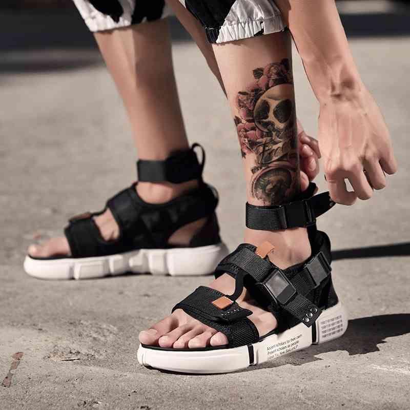 Fashion Summer Men Shoes Gladiatore Sandali Aperta Platform Platform Sandali spiaggia Stivali Stivali di Roma Stile Black Grigio Black Sandali Canvas Drop Ship CX200616