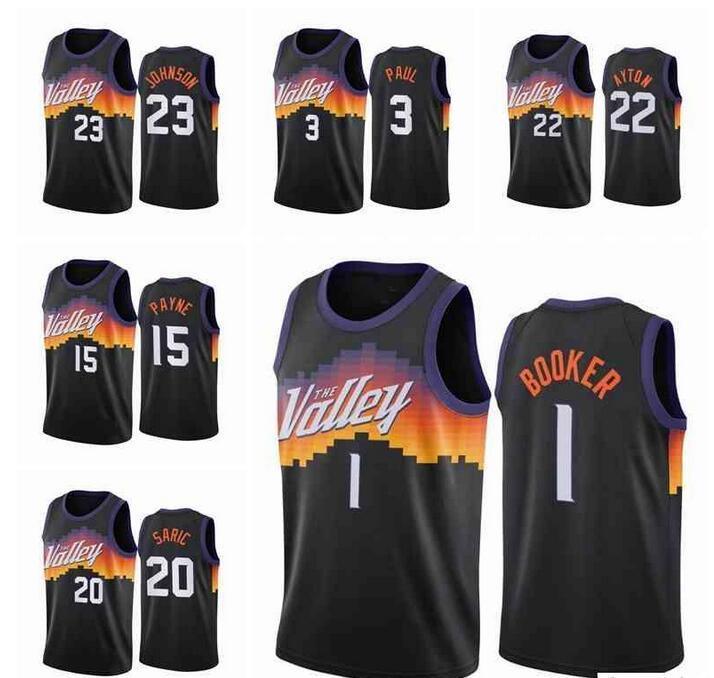Jersey Özel Baskılı Erkekler Devin Deandre Booker Ayton Chris Paul 2021 Swingman Şehir Basketbol Formaları Siyah Üniforma Boyutu S-3XL