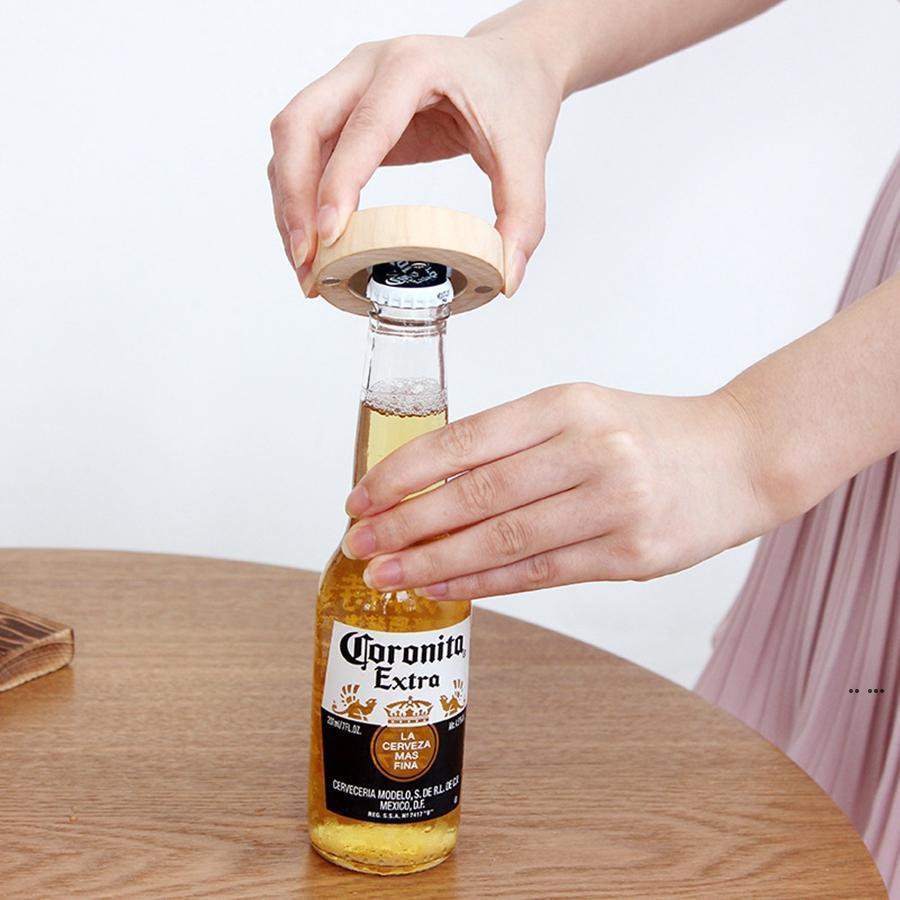 Пустой DIY деревянные круглые формы магнитный фламинго мультфильм напечатанный бутылка открывалки для бутылок горит на холодильник магнит украшения пивной бутылку открывалка EWA8037