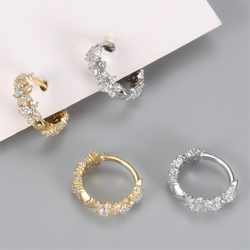 CANNER Zircon CZ crystal 925 sterling argento orecchini a cerchio per le donne orecchini cerchio orecchini goldcolor huggie orecchini gioielli pendientes 1432 q2