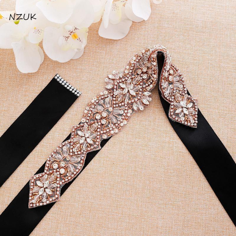Wedding Sashes Pearls Belt Rose Gold Crystal Bridal Rhinestones Sash For Bridesmaid Dress ZZY186RG