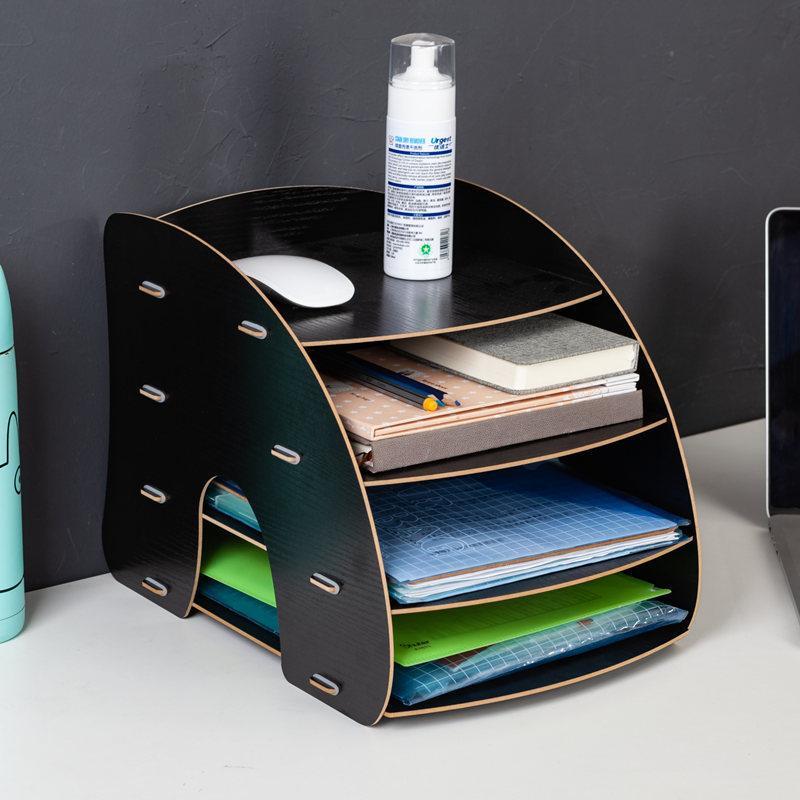 Wooden Color Office Desk Organizer DIY Document File Cabinet Multifunction Desk Accessories Storage Magazine Book Desk Shelf