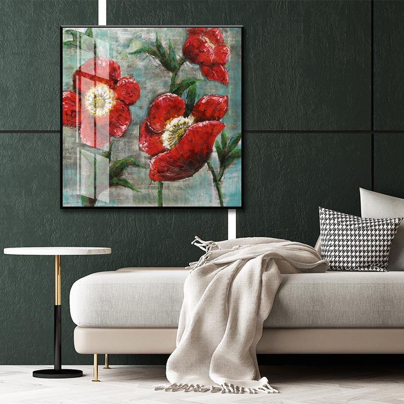 Paintings Retro Three Red Flowers Green Leaf Painting Vintage Canvas Wall Art Decor Print And Posters Home Decoration Living Room Pictures
