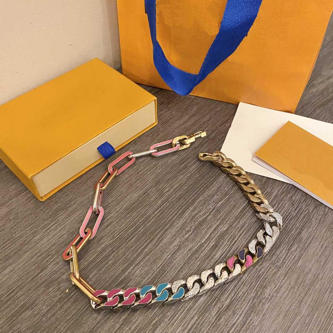 Fashion Hommes Rainbow Chain Liens Collier Pendentif Pendentif Colliers Love Bracelet pour homme Ndesigner Bijoux Bracelets avec boîte