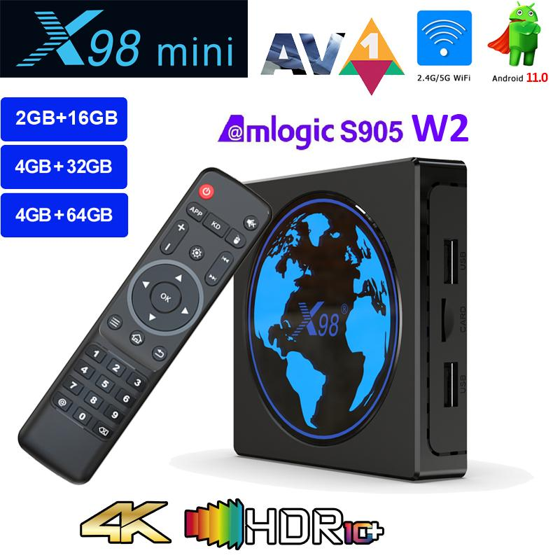X98 Mini Android 11.0 TV Box Amlogic S905W2 4GB 64GB or 32GB 4K Smart Media Player 2.4G 5G Wifi Supports BT Airplay DLNA Miracast Set Top Box 2G 16G Unique Lighting Effect