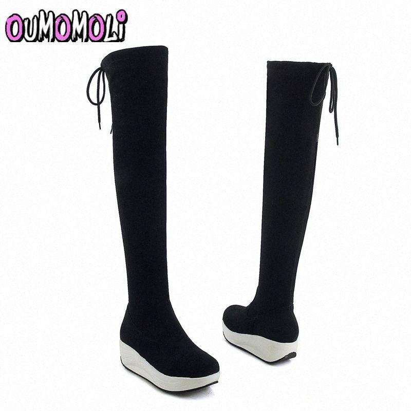 2018 Yeni Akın Deri Kadın Diz Çizmeler Üzerinde Dantel Yukarı Seksi Kadın Ayakkabı Platformu Lace Up Kış Çizmeler Sıcak Boyutu 34 40 Ucuz Futbol Çizmeler Ordusu Boot V0qt #