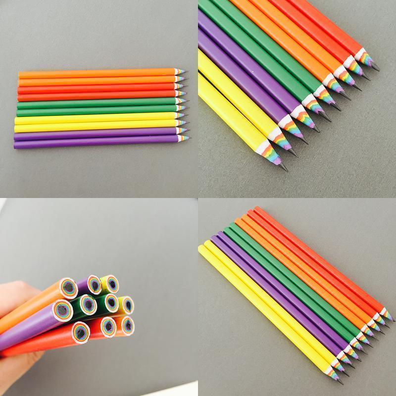 Office Creative Stationery Ding With Colour Pencils Bulk Beautiful Sketches Scenery Sketch Rainbow Pen For Children qylxEj