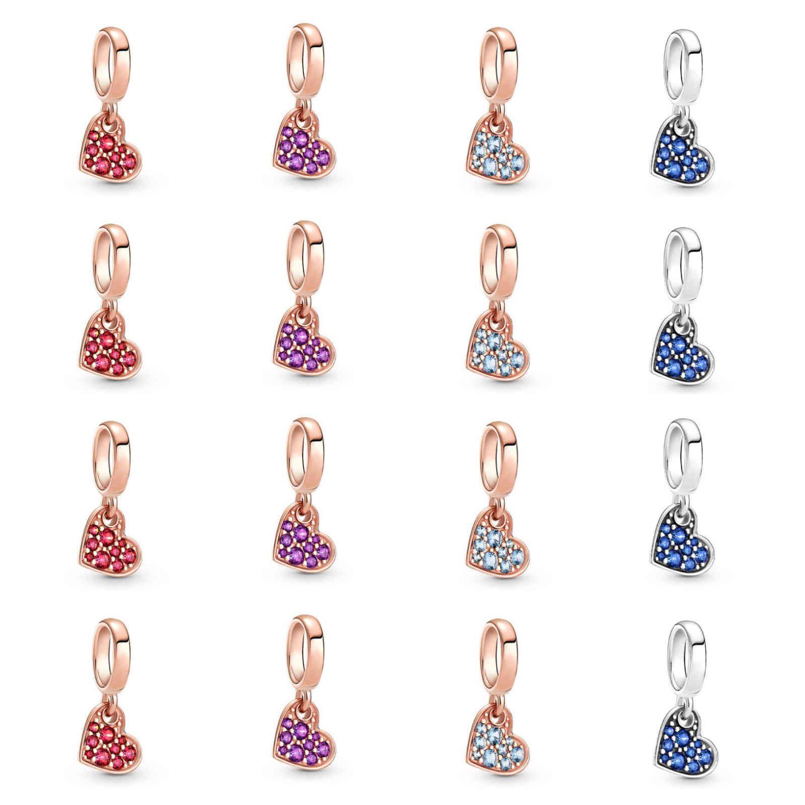 925 Sterling Silver Fit Pandora Original Bead Bracelet Charm Peking Opera Doll Pendant Red Pavé Tilted Heart Dangle Jewelry Gift