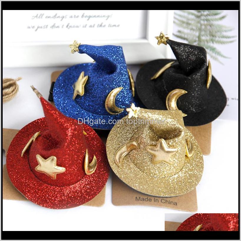 Pins Araçları Ürünleri Bırak Teslimat 2021 Çocuk Firkete Sihirli Bebek Tokalar Sihirbazı Şapka Headdress Saç Klip Cadılar Bayramı Aessories SGNYL