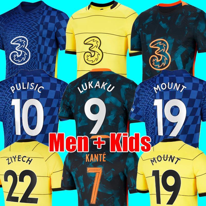 Thailand LUKAKU 21 22 CHELsea Soccer Jerseys MOUNT WERNER HAVERTZ CHILWELL ZIYECH 2021 2022 PULISIC home blue away yellow Football Shirt KANTE Men Kids set Kits tops