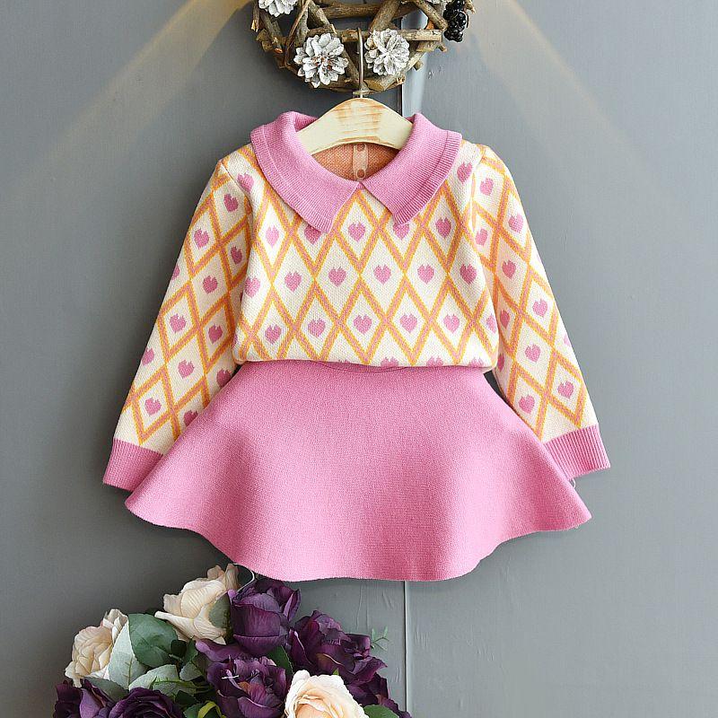 Più Design Design Bambini Girls Abbigliamento Set Set Maglione a maniche lunghe Vestito Abbigliamento Abbigliamento Abiti per bambini Ragazze Vestiti 494 Y2