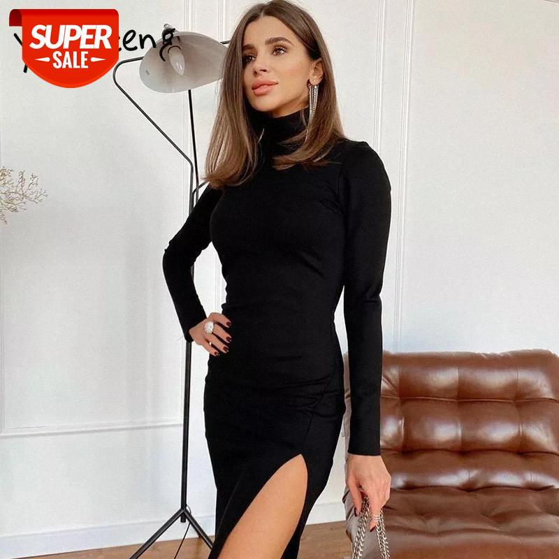 Elbise Seksi Backless Yan Bölünmüş Eklenmiş Balıkçı Yaka Kalem Siyah Partty Bahar Sonbahar Elbiseler Uzun Kollu Parti # GF80