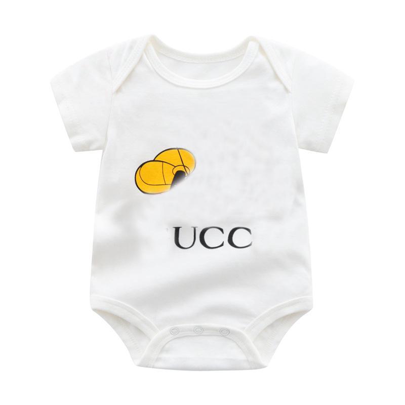 Nuevo verano moda estilo estilo recién nacido ropa de bebé muchachos imprimiendo caricaturas de algodón manga corta mameluco 0-24 meses