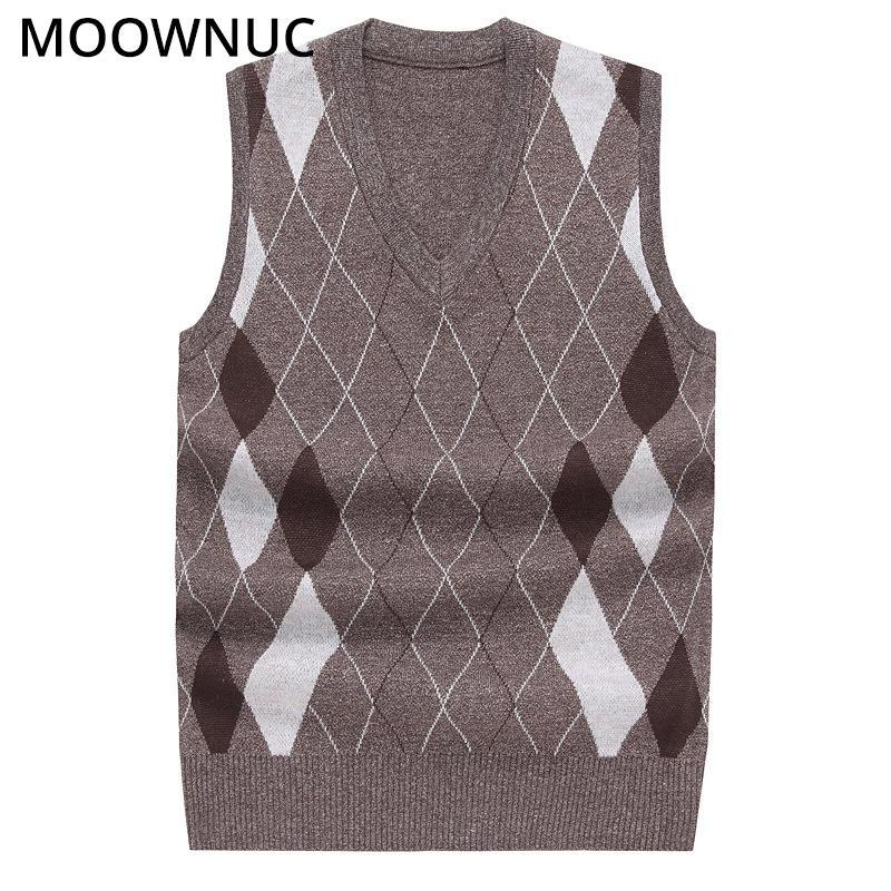 Men's Vests Sweater Sleeveless Male Cardigan Vest FIt V-Neck Fashion Business Casual Homme Men Classic Style Keep Warm MOOWNUC MWC Rhombus