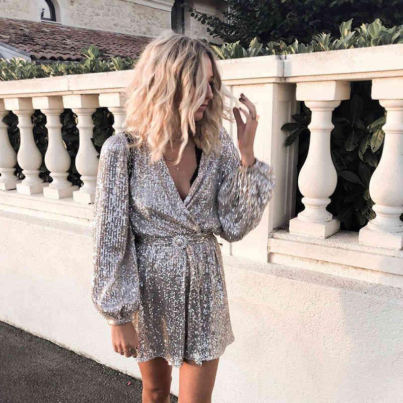 FORDIOL Sliver Pailletten Weihnachtskleid Frauen Laterne Langarm Vintage Party Kleid Sexy V Ncek Sash Button Wrap Glitter Kleid 210415