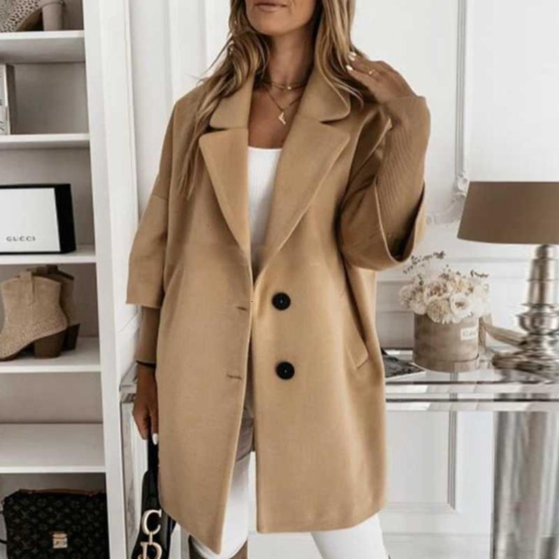 DONNA Pulsante del colletto di svolta in cappotto Autunno Autunno Inverno Giacca da tasca a maniche lunghe Elegante Ufficio Lady Plus Size Top Cappotti lunghi