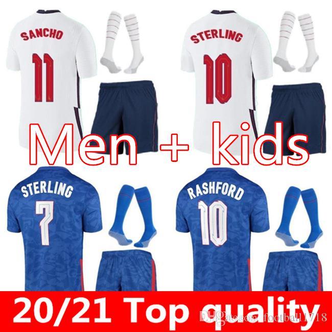 영국 축구 유니폼 21 2022 Kane Sterling Rashford Sancho Henderson Barkley Maguire 20 22 National Football Shirts 남성 키트 세트 유니폼