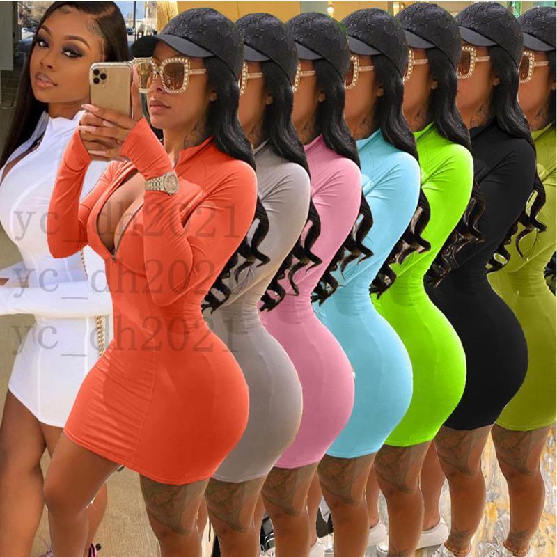 Mulheres vestidos designer sexy slim casual zipper saia cor sólida plus size várias cores longas e curta manga dresst0