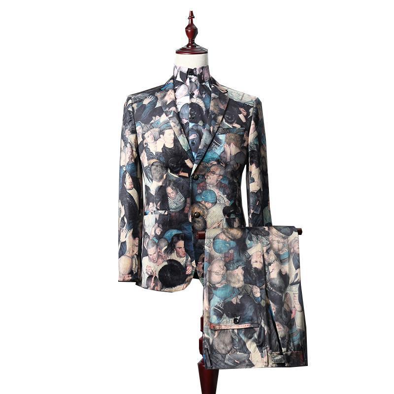 Autunno Stile Britannico Stile uomo Stile di alta qualità Stampa di velluto di alta qualità Sposo Wedding Banquet Party Set 3 PCS (Blazer + Camicia + Pant) Abiti Blazer