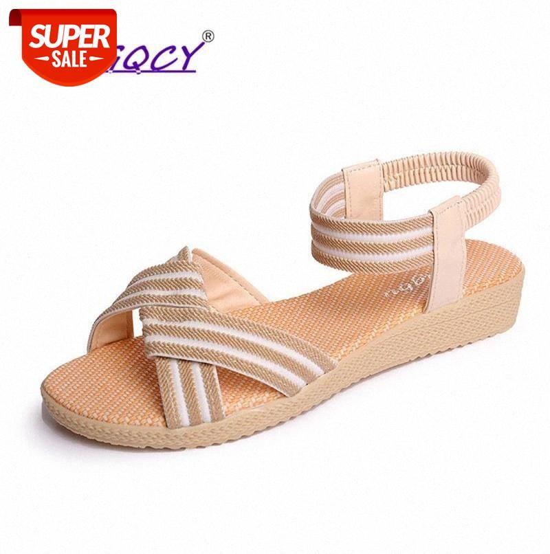Open toe Canvas sandals flat women 2019 summer shoes Simple Solid color Elastic band Roman ladies female 41 42 size #Dd3j