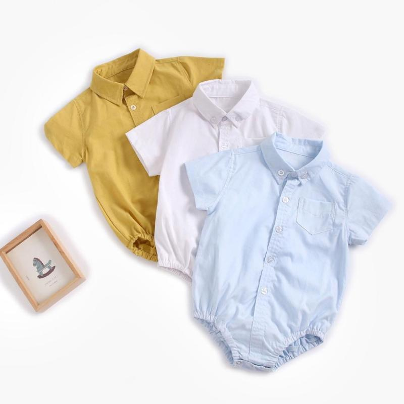 Summer Baby Boys Bodysuits Cotton Clothes Solid Color Fashion Short Sleeve Infants Clothing Casual Rompers