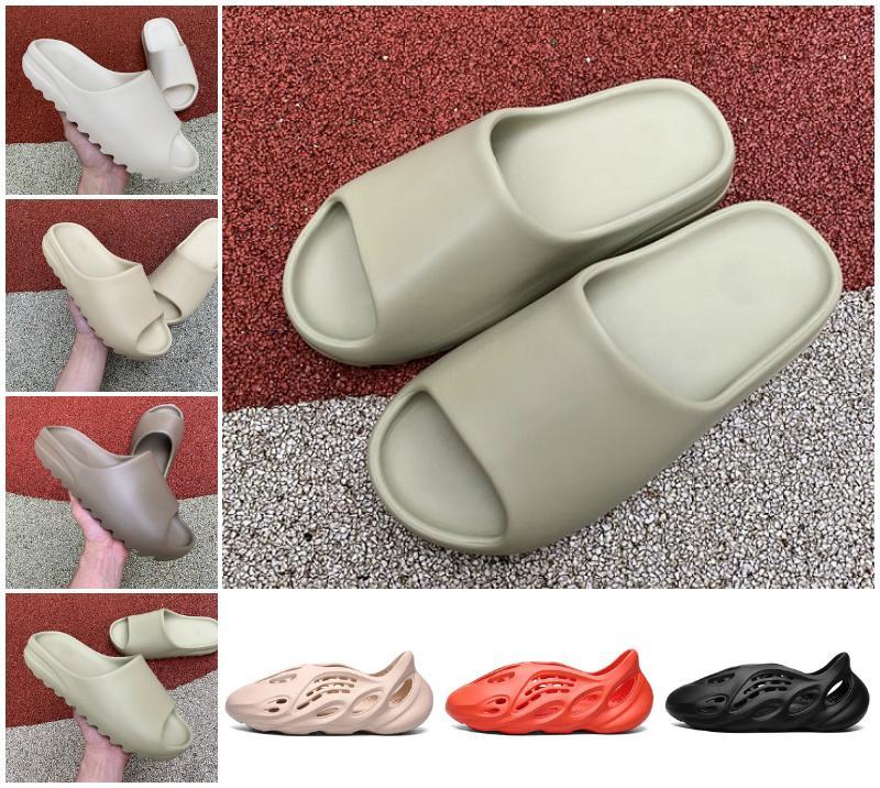 جودة عالية 2021 كاني شبشب الراتنج العظام الأرض براون رجل الصنادل أحذية الأزياء رغوة عداء الثلاثي أسود أبيض البرتقالي النواة سوت الرجال النساء النعال في الهواء الطلق أحذية رياضية