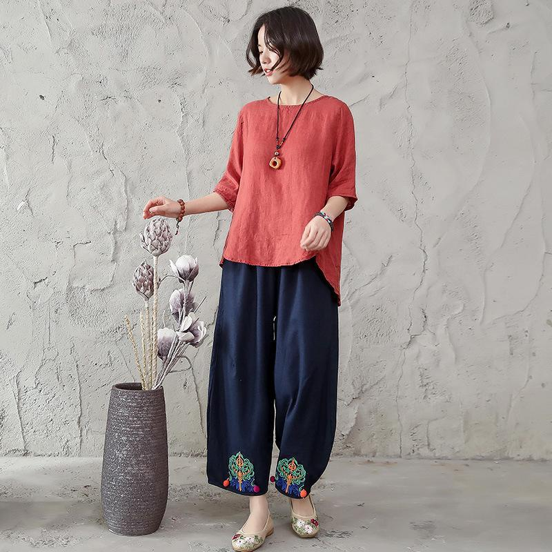 Summer Women Loose Linen Cotton Casual Retro T-Shirt Female Tshirt Lady Suits Vintage Hanfu Clothing Chinese Style Two Piece Dress