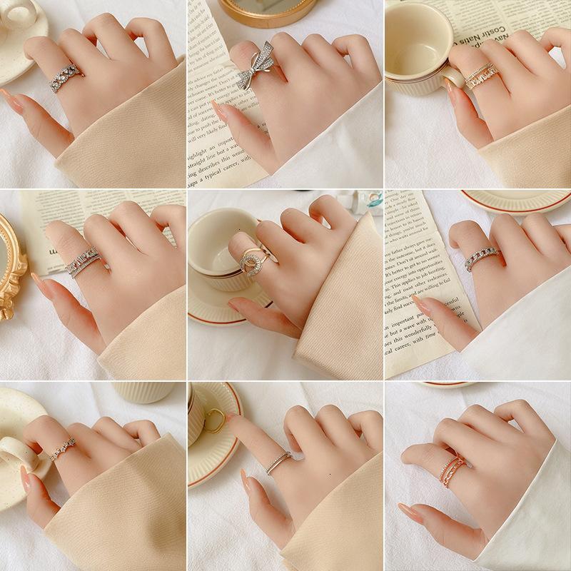 Ring Inlaid Diamond Korea Gelenk Nischen Design Öffnen Weibliche Index Finger Kalter Wind