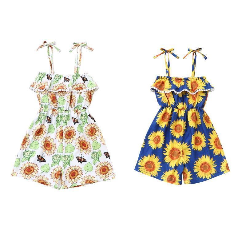 Jumpsuits Sommer Baby Mädchen Kleidung Säuglingskind Floral Gedruckt Rüschen Strampler Ärmelloser Overall Spielsanzug 1-6 Jahre