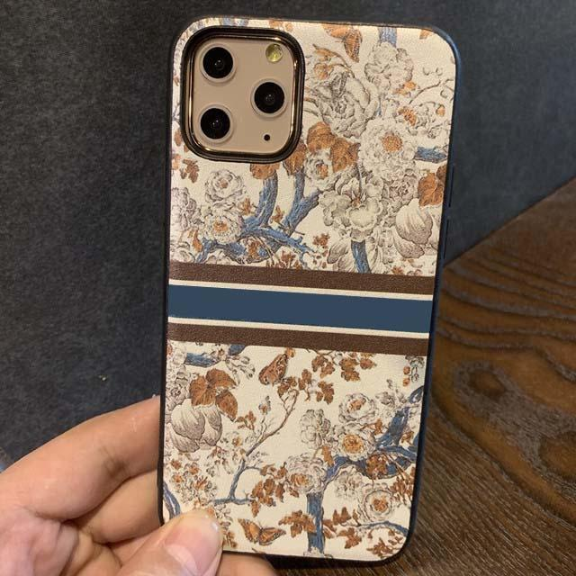 Fashion Luxury Designer Cell Phone Cases for Iphone 13 12 11 Pro max Xs Xr 7 8plus with Letters Blue Toile De Jouy Motif