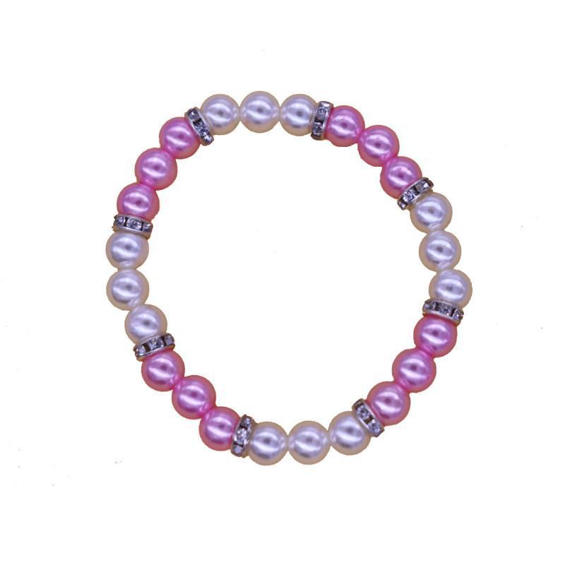 Charme Armbänder Handmade Trendy Rosa Weiß Perle Spacer Kristall Perlen Stretch Bangles Kinder Mädchen Perlen Schmuck Benutzerdefinierte