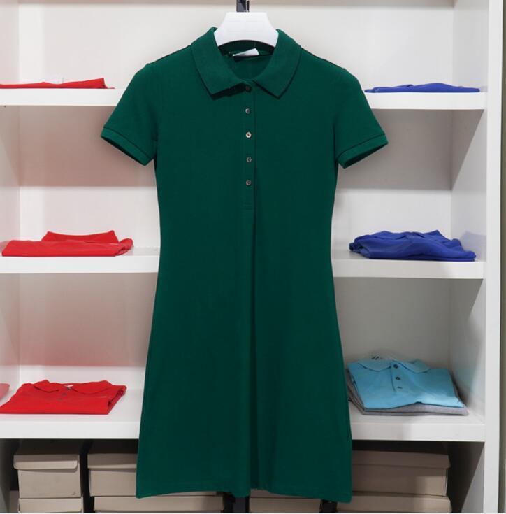 Femmes Casual Robes Summer Crocodile Robe Mode 100% coton Chemise Polo Vêtements A-Line Jupe Fraîche Sweet Plusieurs Couleurs Taille asiatique