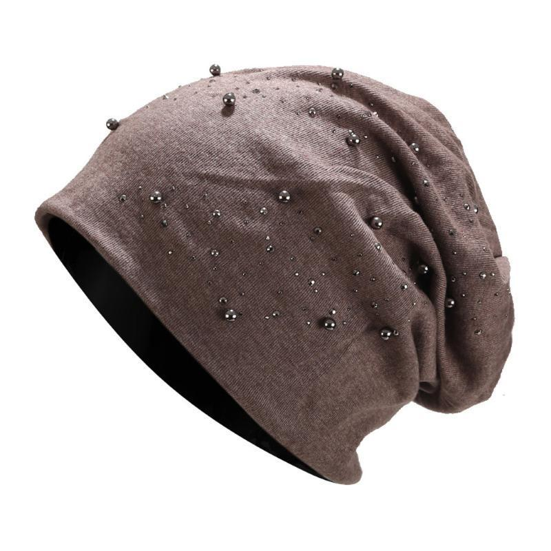 Шапочки женские сплошные цветные бисером сверло все-матч теплые контейнеры колпачки куча крючком шапочки шляпа женские мешка