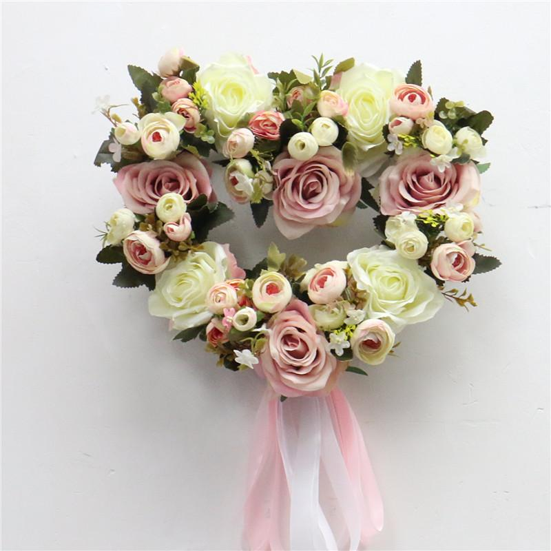 Wreath for Wedding Home Christmas Decoration Road guide Artificial Rose Peony Wreaths European Lintel Wall Dec Flower Door