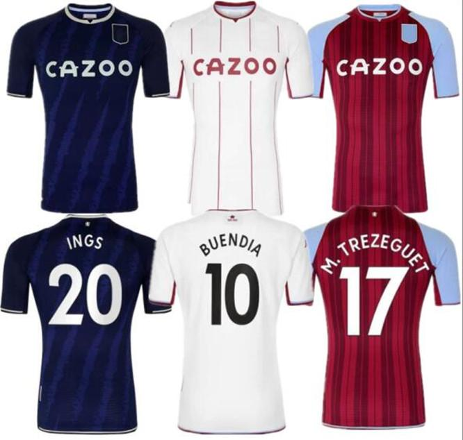 Aston Away Jerseys de futebol Villa Home 202122 Samatta Targett Grealish Wesley Douglas Luiz McGim El Men Kids Kit Futebol Camisas Vermelho Jersey