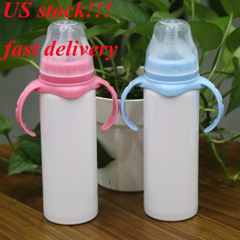 ABD stok !!! Süblimasyon 8 oz Sippy Kupası Bebek Şişesi Kolu ile Paslanmaz Çelik Çocuk Tumbler Silikon Meme