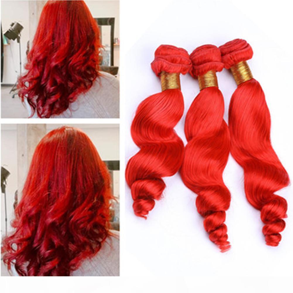 Vague lâche rouge vif 3bundles de cheveux humains malaisiens tissant la meilleure qualité rouge de couleur rouge losoe ondulée vierge vierge extensions de cheveux double trame double