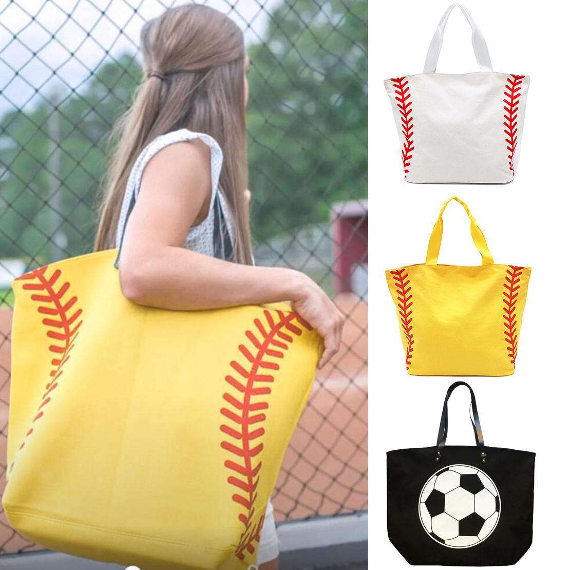 8 Colors Foldable Shopping Bag Printed Portable Handbags Baseball Tote Softball Basketball Football Volleyball Canvas Bags
