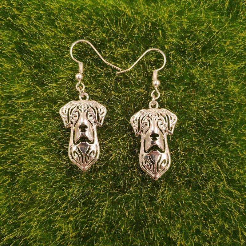Cute Great Dane Dog Animal Pendant Drop Earrings Golden Silver Kawaii Funny Summer For Women Girls Woman Wholesale E088 Dangle & Chandelier