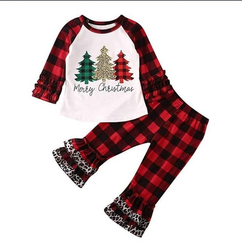 Kids Children's girls Xmas clothes bufflo plaid blouses hoodie tops and flounce pants outfits two piece tracksuit pajamas Merry Christmas letter clothing H914OD26