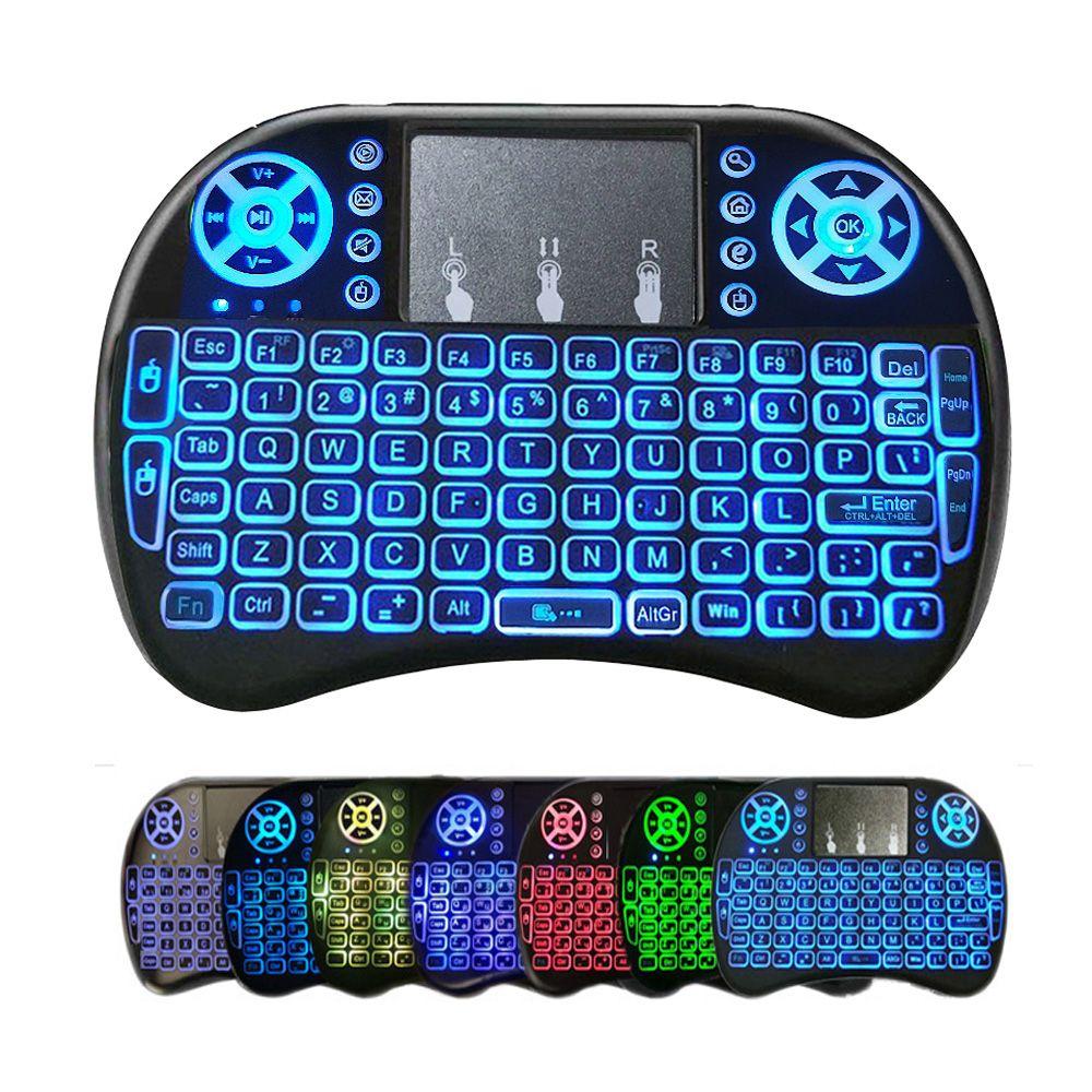 Mini I8 Wireless Keyboard Retroilluminazione retroilluminazione 2.4G Telecomando Air TOUCHPAD TOUCHPAD Batteria al litio AAA ricaricabile per scatola TV Android