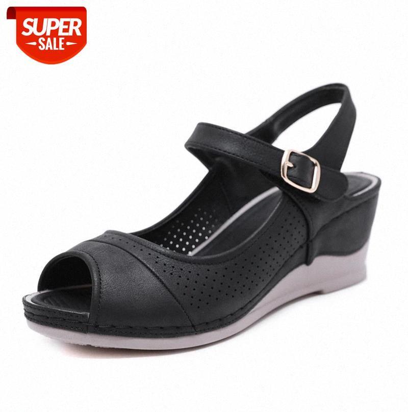 2020 Women Shoes Platform Sandals Peep Toe High Wedges Heel Ankle Buckles Sandalia Leather Female #Rs0p