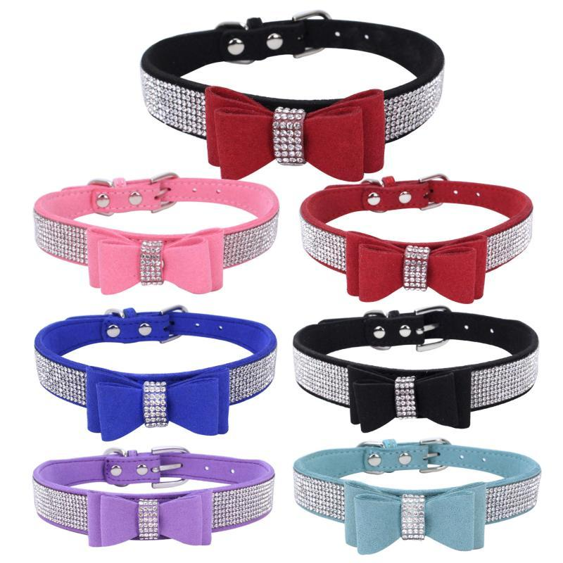Bling Rhinestone Puppy Cat Collars Adjustable Double Microfiber Bowtie Kitten Collar For Small Medium Dogs Cats Pet Accessories & Leads
