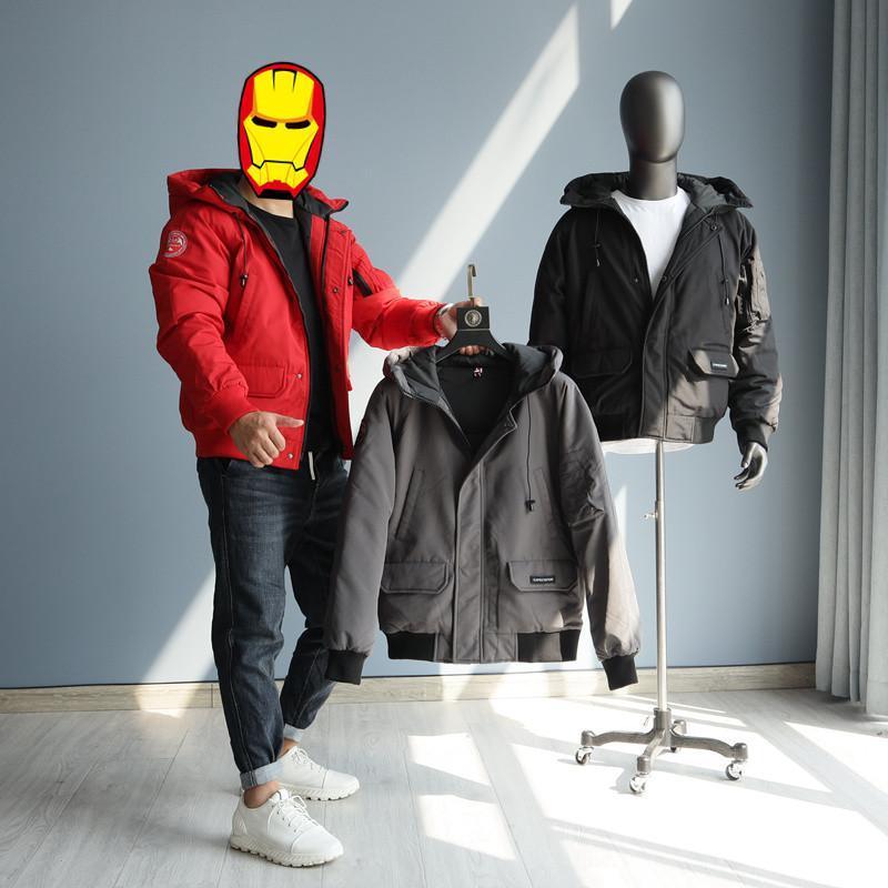 패션 2021 도착 남성 오리 아래로 오버 코트 짧은 겨울 파카스 의류 남성 캐주얼 겉옷 검은 회색 빨간색 XXXXL 4XL 남자